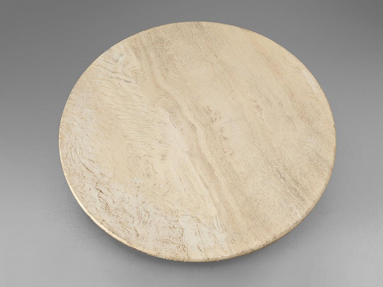 Round Pedestal Coffee Table in Travertine For Sale 1