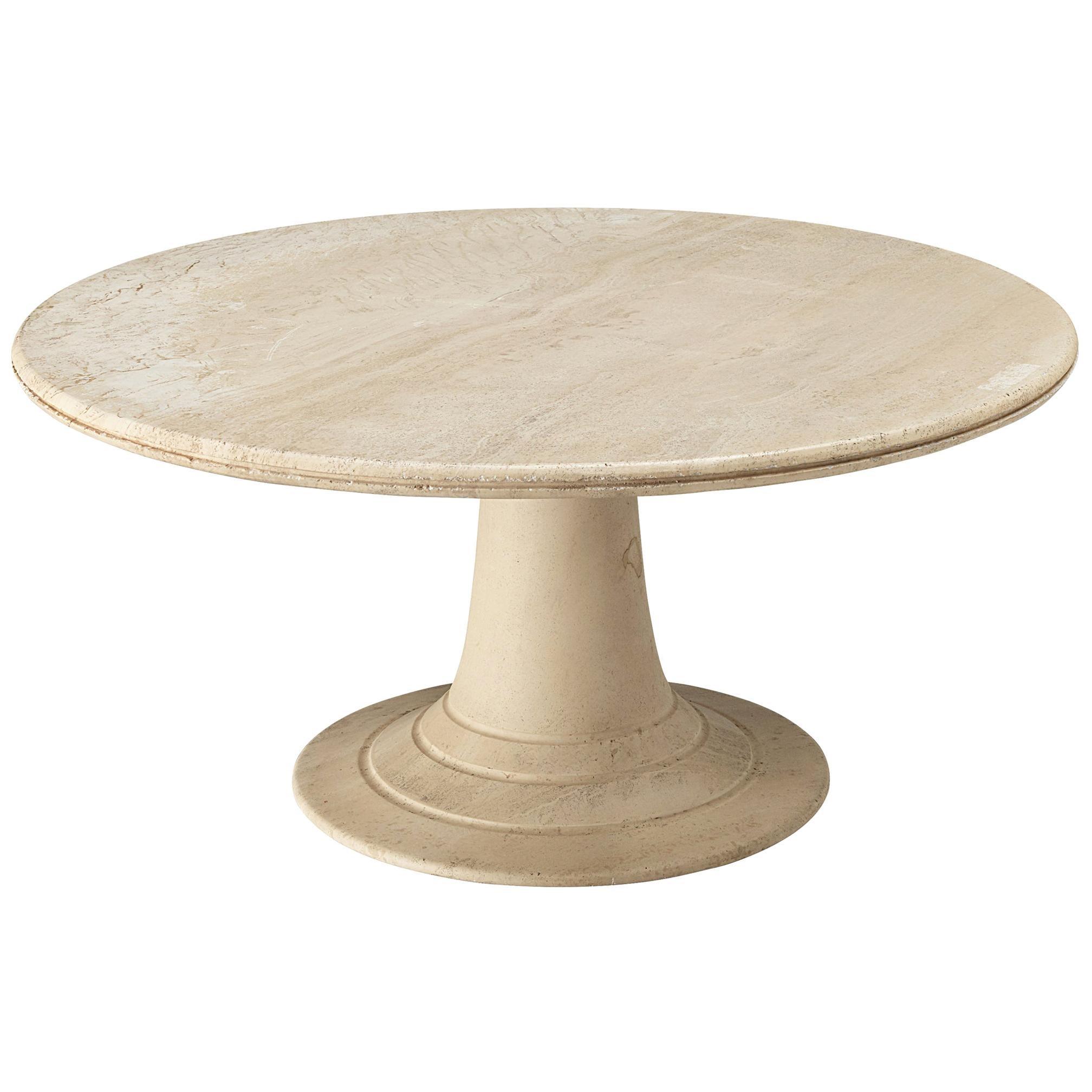 Round Pedestal Coffee Table in Travertine