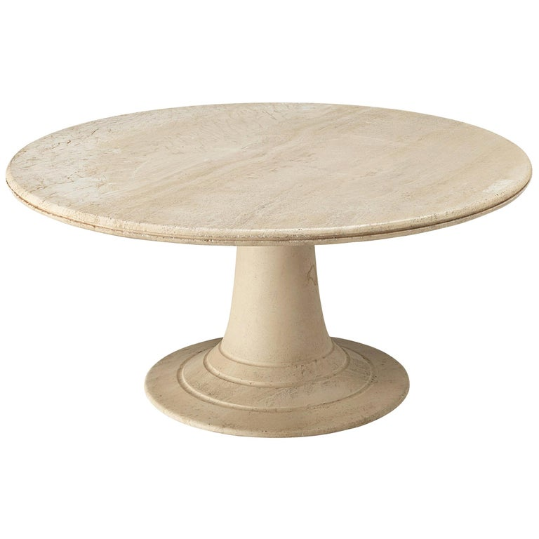 Round Pedestal Coffee Table in Travertine For Sale