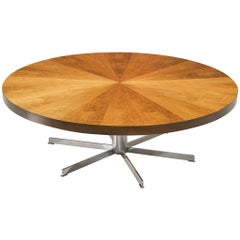 Round Pedestal Dining or Conference Table in Walnut and Metal