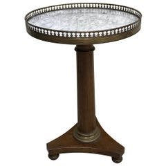 Round Pedestal Marble Top Drinks Table