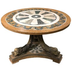 Round Pedestal Table with Dolphins