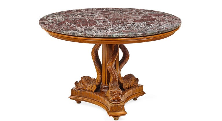 Neoclassical Round Pedestal Table with Dolphins,Early 20th Century For Sale