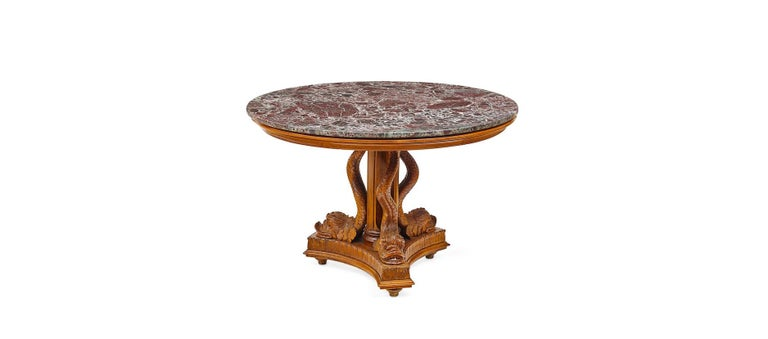 Italian Round Pedestal Table with Dolphins,Early 20th Century For Sale