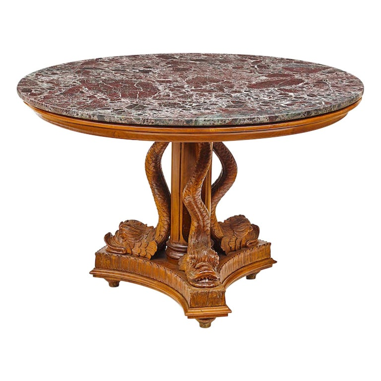 Round Pedestal Table with Dolphins,Early 20th Century For Sale