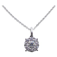 Round Pendant with 0.46 Carat of Diamond Hangs from an 18 Karat White Gold Chain