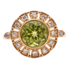 Round Peridot and Diamond Cocktail Ring in 18 Carat Yellow Gold