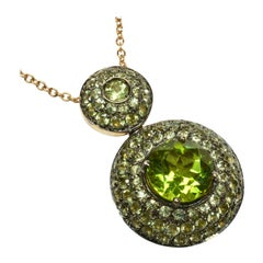 Round Peridot Gold Round Pendant Made in Italy