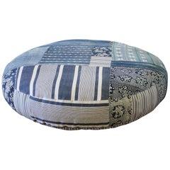 Round Pet Bed Made from Vintage Batik Mud Cloth Indigo Textiles
