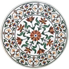 Round Pietra Dura Stone Inlay White Marble Table Top with Flower Decorations