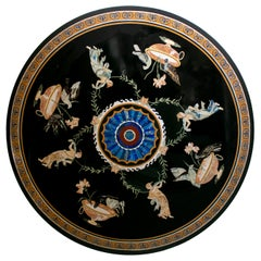 Round Pietre Dure Black Marble Mosaic Table Top with Greek Scenes