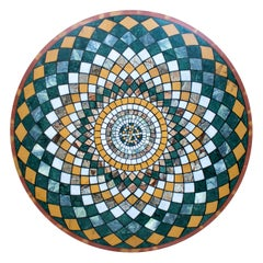 Round Pietre Dure Geometric Marble Mosaic Table Top