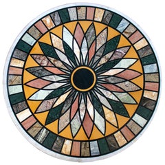 Round Pietre Dure Geometric White Marble Mosaic Table Top