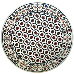 Round Pietre Dure Geometric White Marble Mosaic Table Top with Inlays
