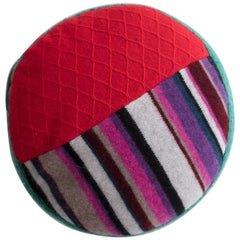 Round Pillow in Red and Black Cashmere by Greg Chait, 2016