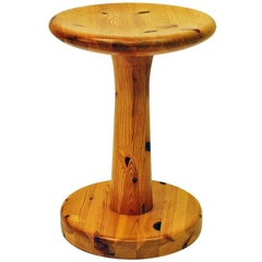 Round Pine Stool Attributed to Rainer Daumiller, 1960s, Denmark