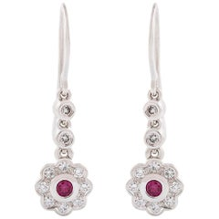 Round Pink and White Brilliant Cut Diamond Cluster Drop Earrings in White Gold