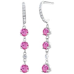Round Pink Ceylon Sapphires and Diamond White Gold Hoop Drop Earrings