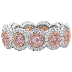 Round Pink Diamond Double Halo Eternity Wedding Band