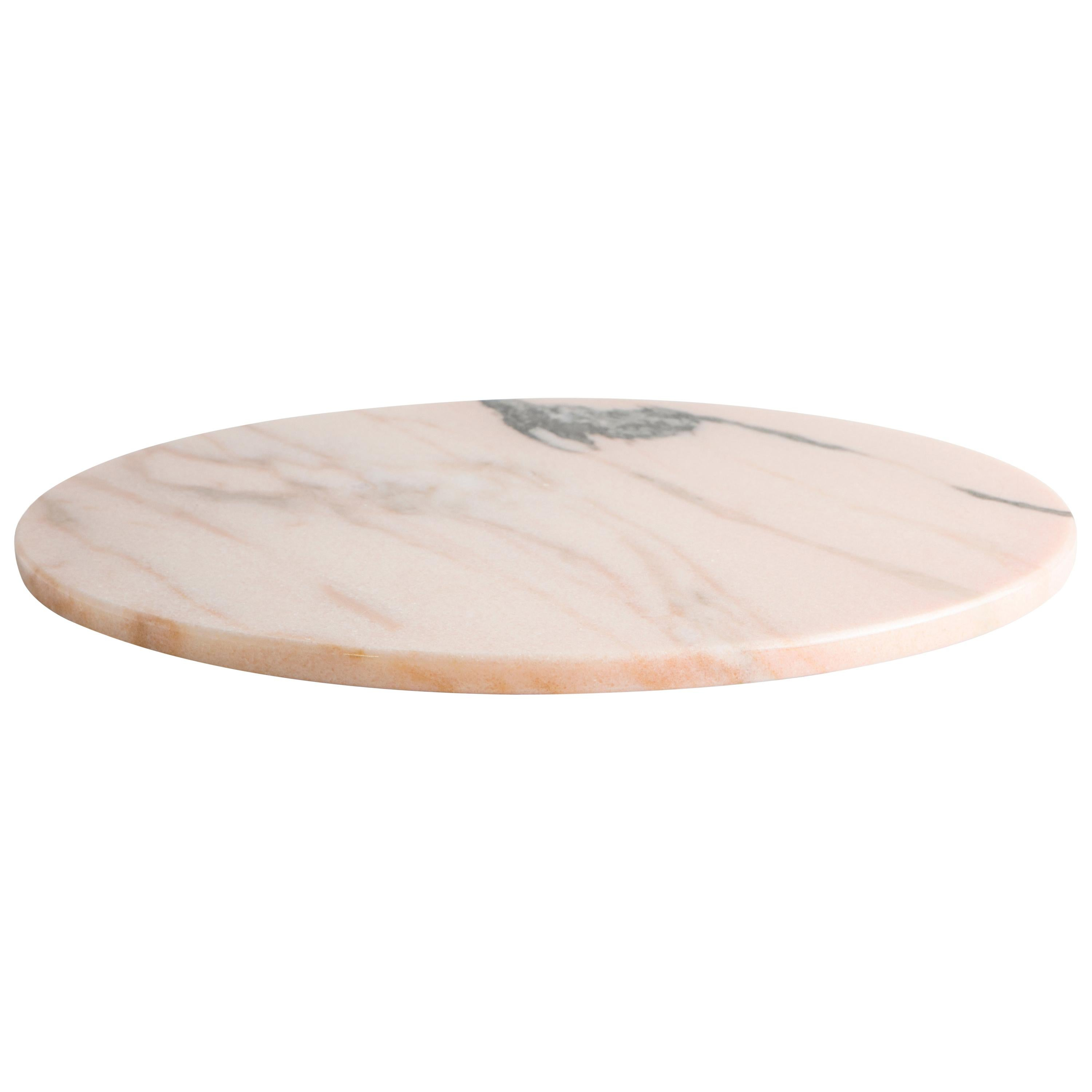 Round Pink Marble Cheese Plate