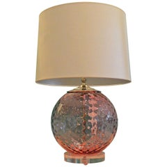 Round Pink Murano Faceted Glass w/ Chrome Accents Atop a Lucite Base Table Lamp