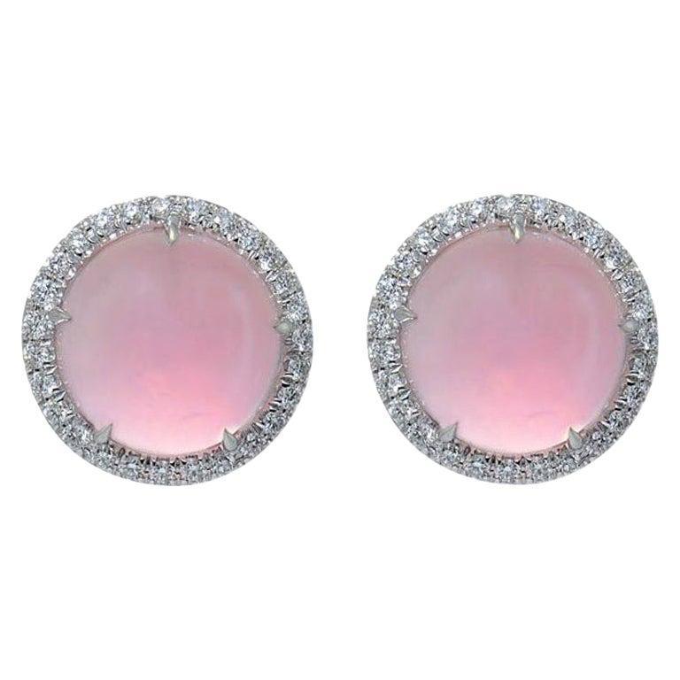 Round Pink Quartz Diamond 18 Karat White Gold Earclips Earrings For Sale