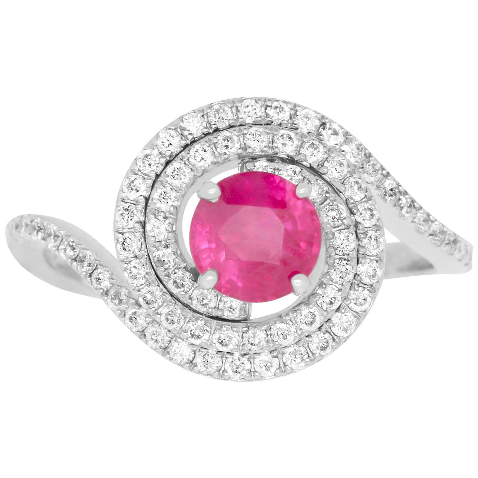 Round Pink Natural Ruby White Diamond Double Halo Ring 14K White Gold