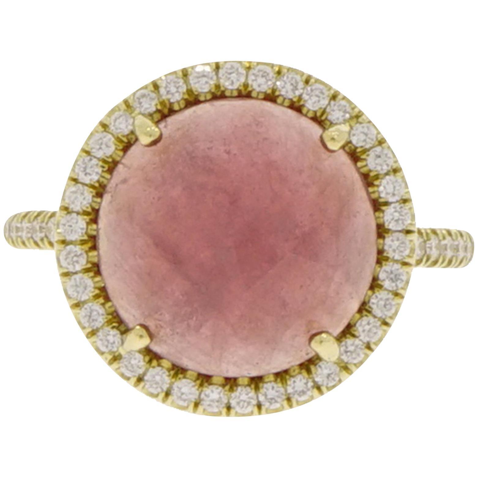 Round Pink Sapphire and Diamond Yellow Gold Ring