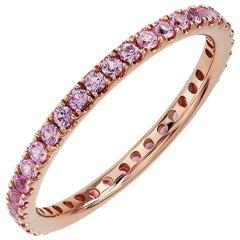 Round Pink Sapphire Eternity Band 14 Karat Rose Gold