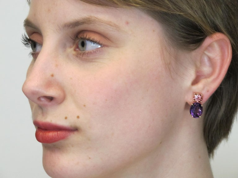 Artisan Round Pink Tourmaline and Oval Amethyst 18 Karat Rose Yellow Gold Earrings For Sale
