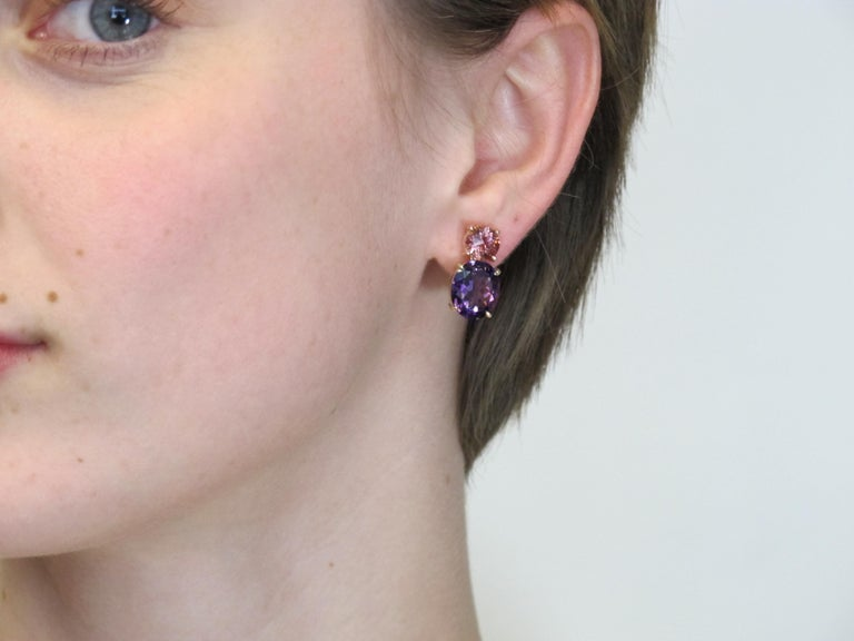 Round Pink Tourmaline and Oval Amethyst 18 Karat Rose Yellow Gold Earrings In New Condition For Sale In Los Angeles, CA