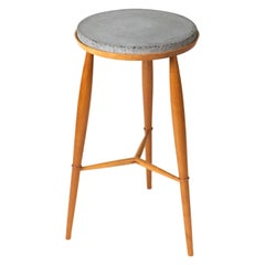 Round Plant Stand Side Table with Concrete Top and Turned Legs
