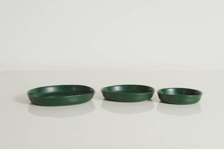 Round Plates, Set of 3, Green Lacquer by Robert Kuo, Handmade, Limited Edition For Sale 2