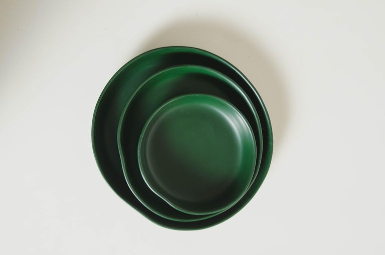 Round Plates, Set of 3, Green Lacquer by Robert Kuo, Handmade, Limited Edition For Sale 4