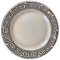 "Hand Painted Greek Key Border on a 14"" Round Off-White Platter"