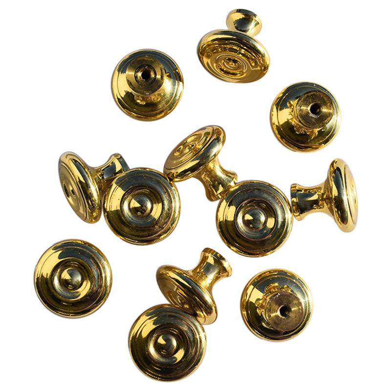 Round Polished Gold Cabinet Drawer Hardware Pulls Attributed to Sherle Wagner