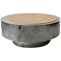 Round Polished Stainless Chrome and Granite Coffee Table