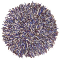 Round Polychrome Filikli Angora Wool Anatolian Rug Designed by Pini Leibovich