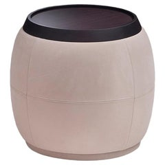 Round Pouf / Side Table in Solid Walnut Wood Covered with Leather
