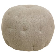 Round Pouf Tufted Ottoman in Neutral Herringbone Upholstery