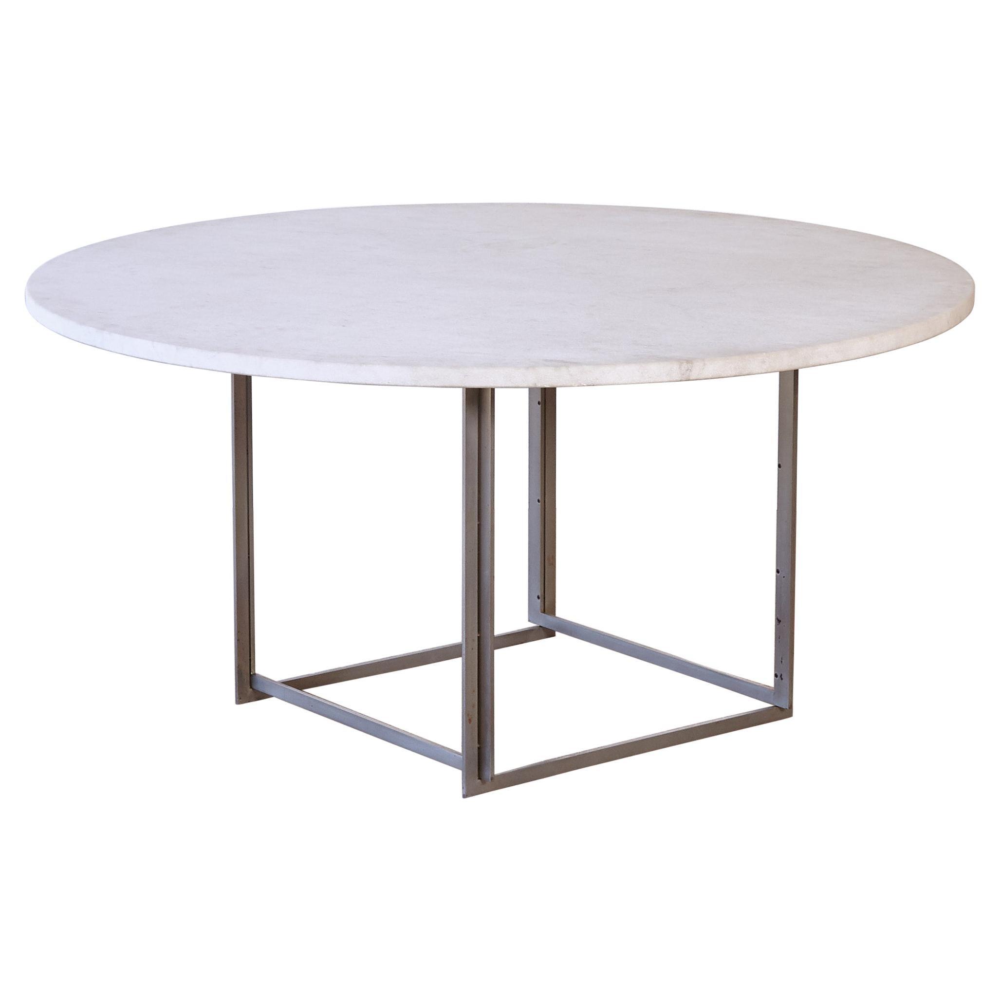 Round Poul Kjaerholm PK-54 Dining Table by E. Kold Christensen, Denmark, 1960s