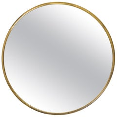 Round Profiled Brass Mirror, 1950s
