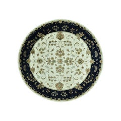 Round Rajasthan Floral Design Wool and Silk Hand Knotted Rug