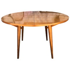 Round Rare Leslie Diamond Maple Dining Table with 2 Leaves Tapered Legs