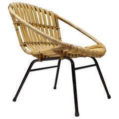 Round Rattan and Bamboo Armchair, Italy, 1950s