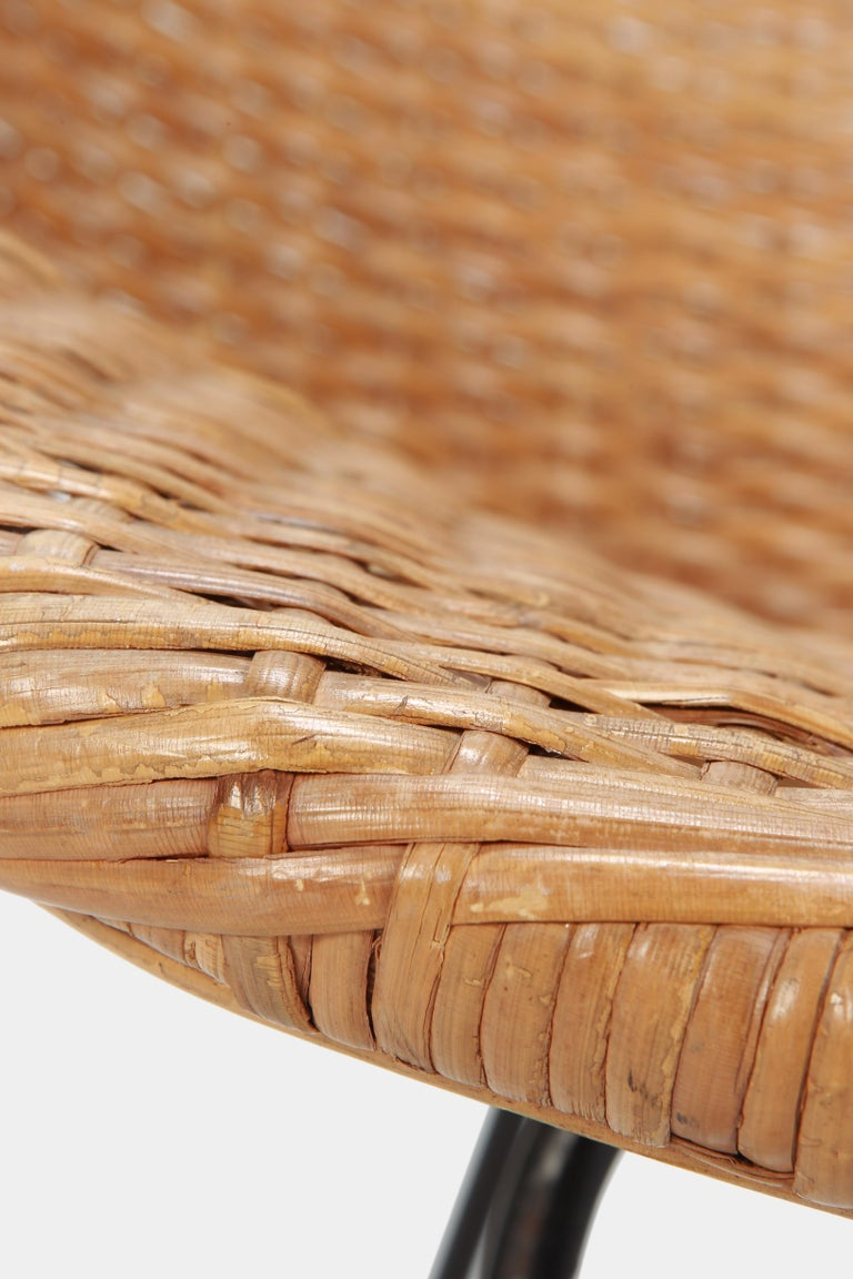 Round Rattan Circle Chair, 1950s For Sale 5
