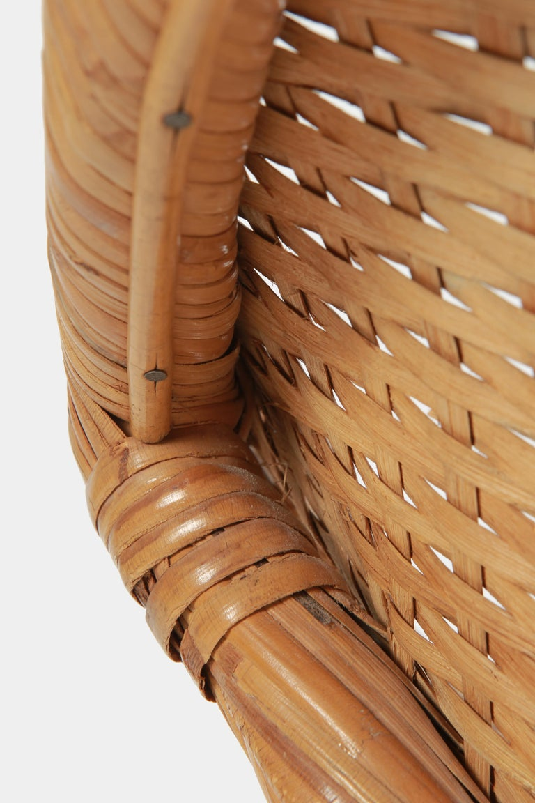 Round Rattan Circle Chair, 1950s For Sale 6