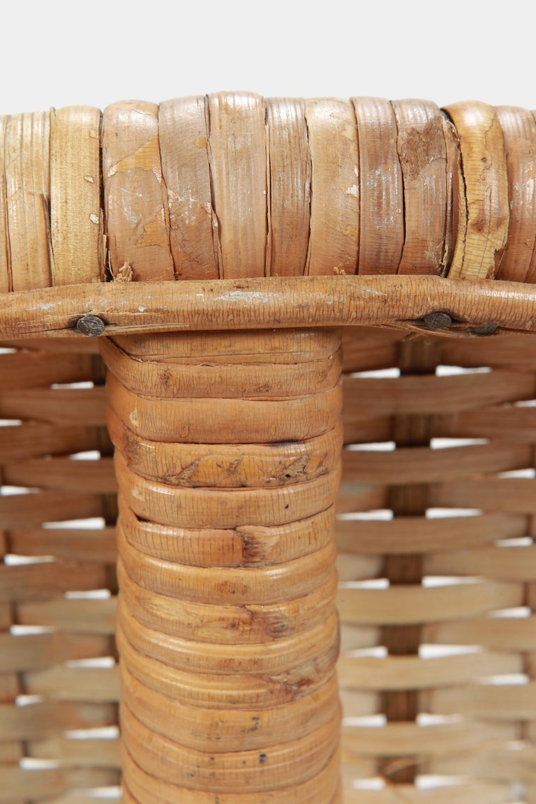 Round Rattan Circle Chair, 1950s For Sale 7