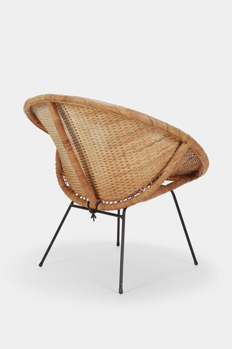 Round Rattan Circle Chair, 1950s For Sale 1