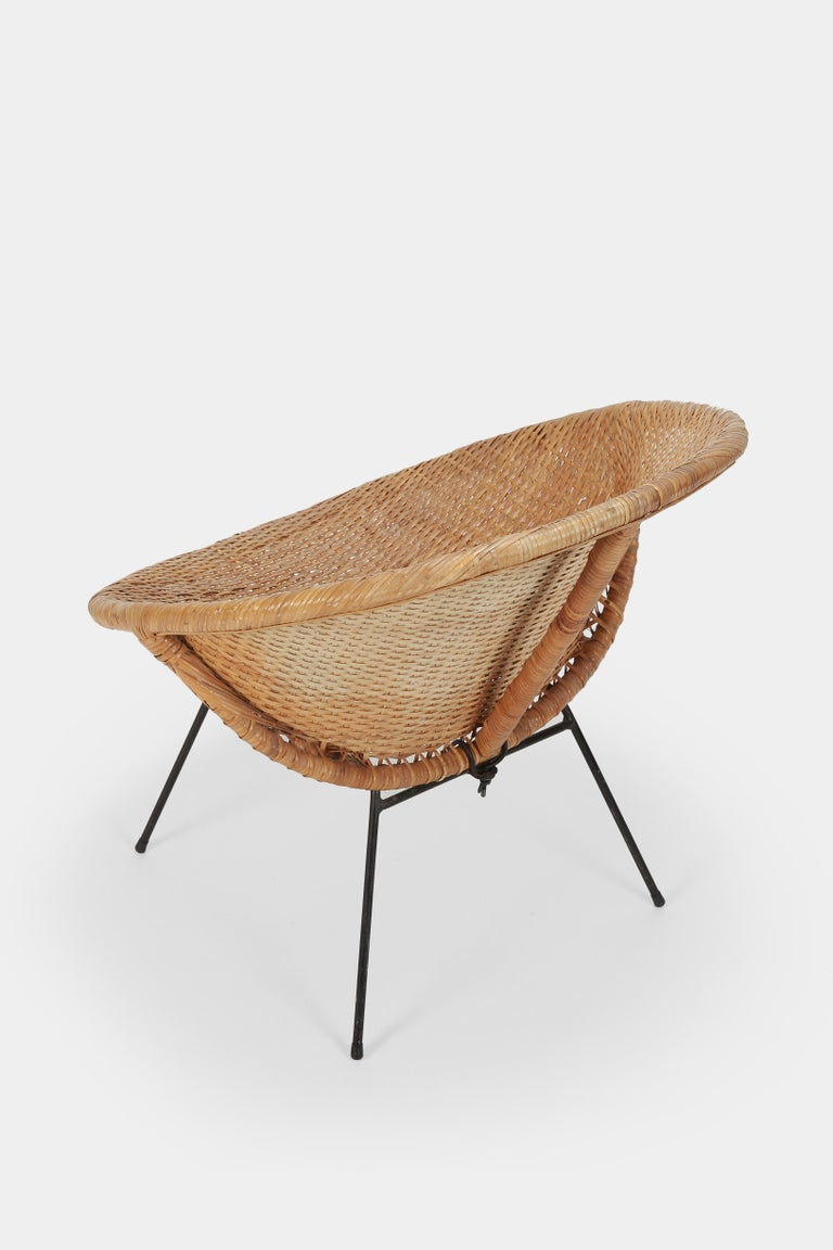 Round Rattan Circle Chair, 1950s For Sale 2